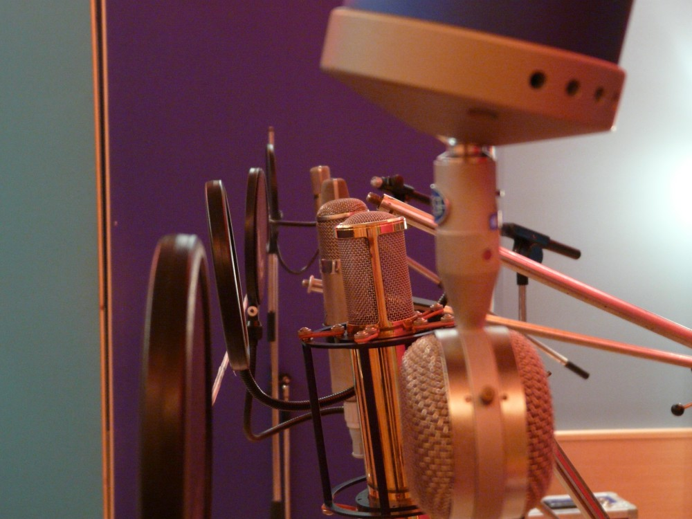 Vocal Mic Shootout. Blue Bottle, Manley Gold, Neumann U87, Neumann U67 and AKG C12 (back)