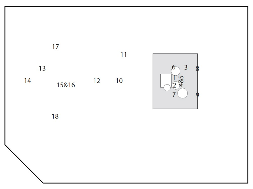 Fig.2: approximate position of each mic in the room. For clarity's sake, only room mics and OHs are shown (close mics are not shown). The image also contains mics present in the second part of the article