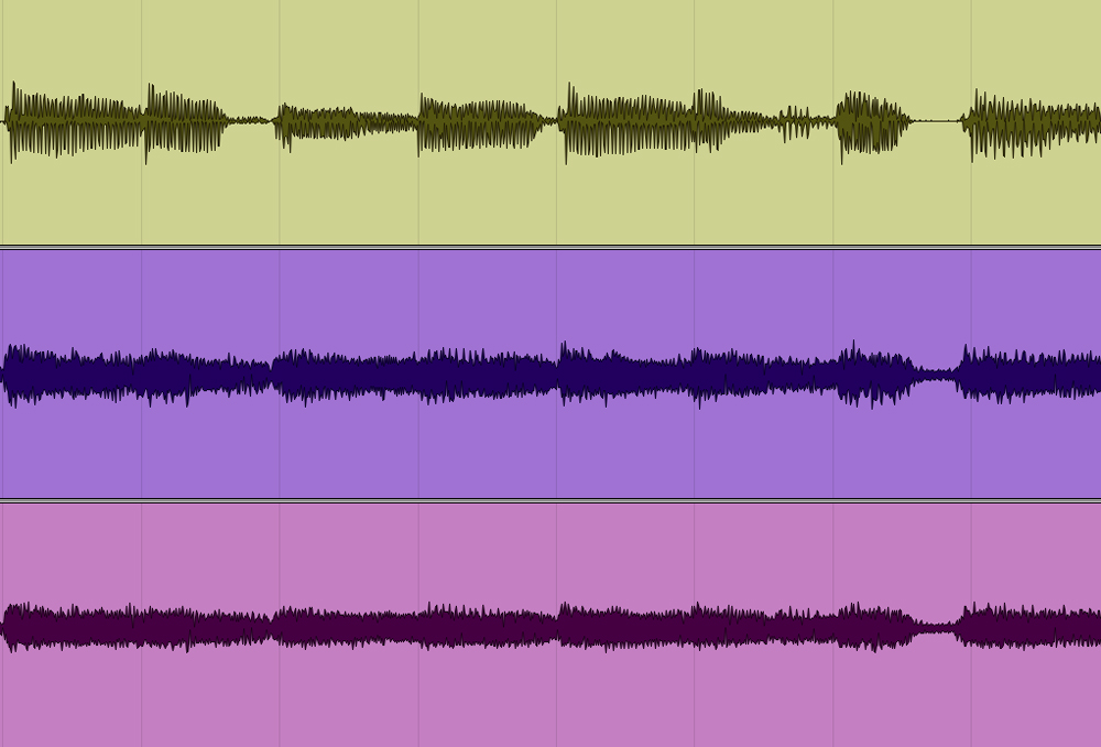 Top waveform comes from the DI, the two other are mics. Should you have to edit, which one would you prefer to use as reference?